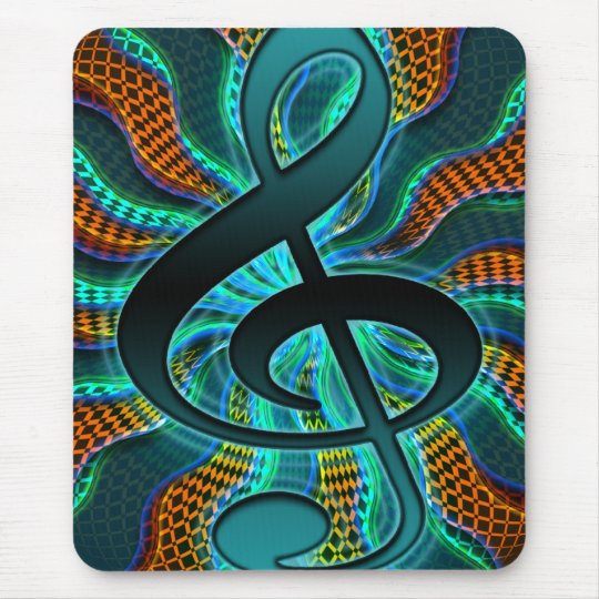 Psychedelic Treble Clef / G Clef Music Symbol Mouse Pad