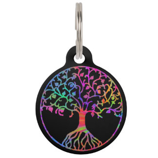 Psychedelic Tree of Life Pet Name Tag