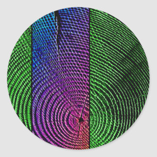 Psychedelic Tree Rings Classic Round Sticker