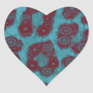 Psychedelic Trippy Cheetah Abstract Heart Sticker
