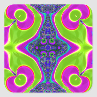 Psychedelic Trippy Pattern Square Sticker
