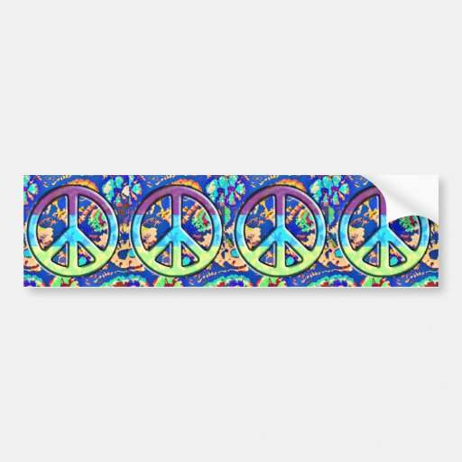 Psychedelic Trippy Purple Peace Sign Car Bumper Sticker