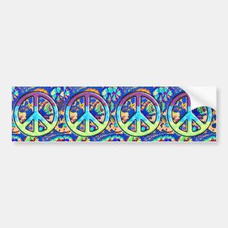 Psychedelic Trippy Purple Peace Sign Car Bumper Sticker