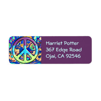 Psychedelic Trippy Purple Peace Sign Return Address Labels
