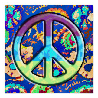 Psychedelic Trippy Purple Peace Sign Poster