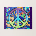 Psychedelic Trippy Purple Peace Sign Jigsaw Puzzles