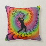 Psychedelic Trombone Player Blowing Notes Pillow