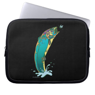 Psychedelic Trout Fishing Laptop Sleeve