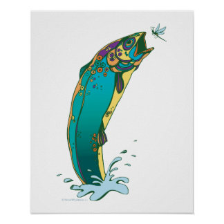 Psychedelic Trout Fishing Poster