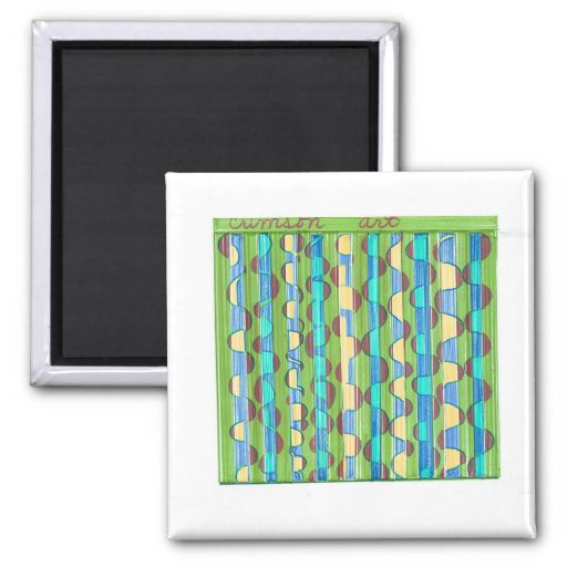 Psychedelic turquoise green Swirls 2 Inch Square Magnet