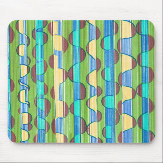 Psychedelic turquoise green Swirls Mousepads
