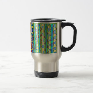Psychedelic turquoise green Swirls 15 Oz Stainless Steel Travel Mug