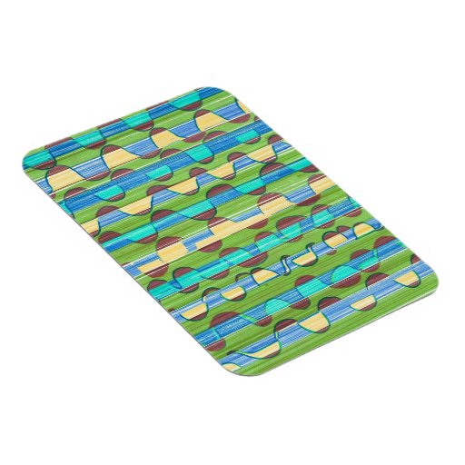 Psychedelic turquoise green Swirls Rectangular Photo Magnet