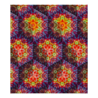 Psychedelic turtle shell poster