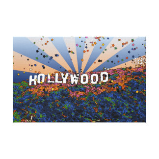 Psychedelic USA - Hollywood Sign A1 Gallery Wrapped Canvas