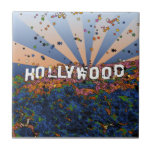 Psychedelic USA - Hollywood Sign A1 Ceramic Tile