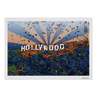 Psychedelic USA - Hollywood Sign A1 Print
