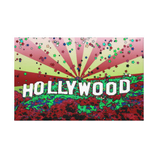 Psychedelic USA - Hollywood Sign A3 Stretched Canvas Print