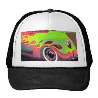 psychedelic vintage car closeup trucker hat