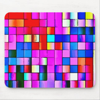 Psychedelic Watercolor Tiles Mouse Pad