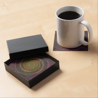 Psychedelic Webbed Spiral Drink Coasters