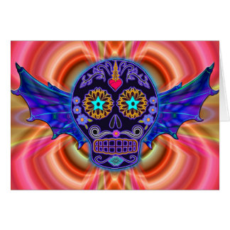 Psychedelic Winged Skull Card