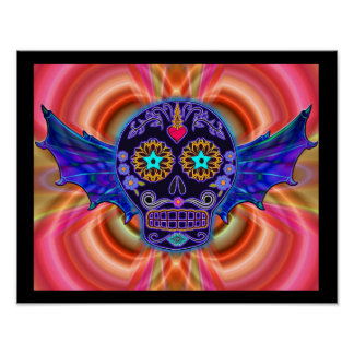 Psychedelic Winged Skull Poster