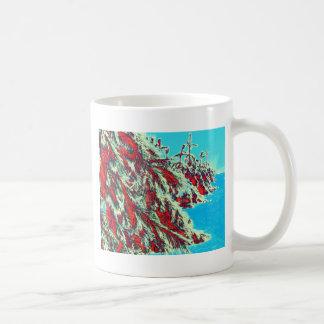 psychedelic winter landscape coffee mug
