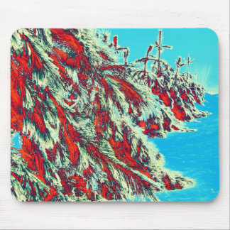 psychedelic winter landscape mouse pad