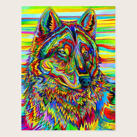 Psychedelic Wolf Art Postcard
