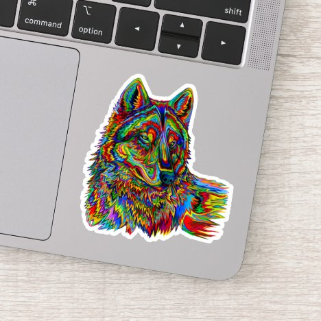Psychedelic Wolf Custom-Cut Vinyl Sticker