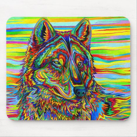 Psychedelic Wolf Mouse pad
