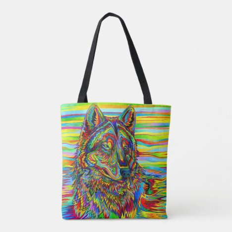 Psychedelic Wolf Rainbow Colorful Tote Bag