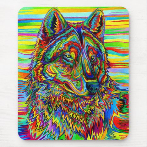 Psychedelic Wolf Vertical Mouse pad