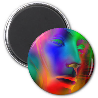 Psychedelic Woman Face Fridge Magnet