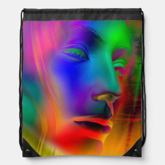 Psychedelic Woman Face Drawstring Backpack