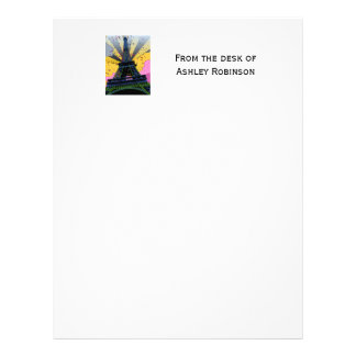 Psychedelic World: Eiffel Tower, Paris France A1 Letterhead Template