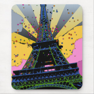 Psychedelic World: Eiffel Tower, Paris France A1 Mouse Pad