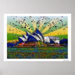 Psychedelic World: Sydney Australia Skyline A2 Print
