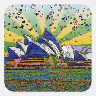Psychedelic World: Sydney Australia Skyline A2 Square Sticker
