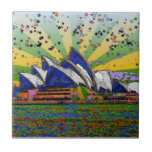 Psychedelic World: Sydney Australia Skyline A2 Ceramic Tile