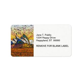 Psychedelic World: Sydney Skyline A1 Custom Address Labels