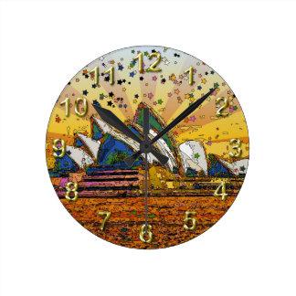 Psychedelic World: Sydney Skyline A1 Round Clock