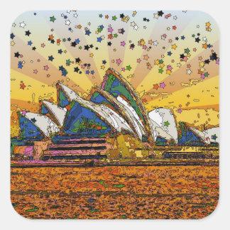 Psychedelic World: Sydney Skyline A1 Square Sticker