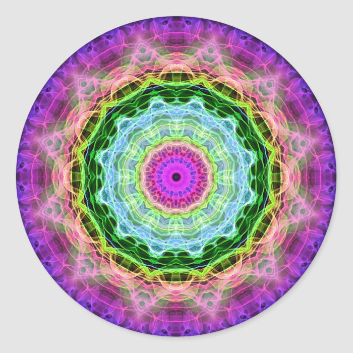 Psychedelic Wormhole kaleidoscope Classic Round Sticker