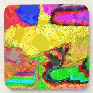 Psychedelic Yellow Blue Red Abstract Pattern Beverage Coaster