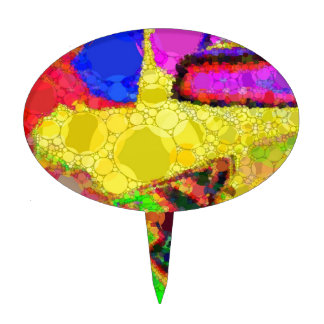 Psychedelic Yellow Blue Red Abstract Pattern Cake Topper