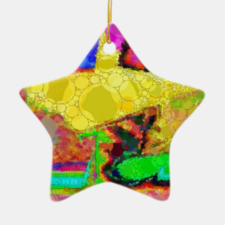 Psychedelic Yellow Blue Red Abstract Pattern Ceramic Ornament