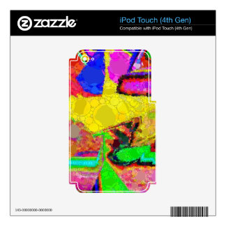 Psychedelic Yellow Blue Red Abstract Pattern iPod Touch 4G Skin