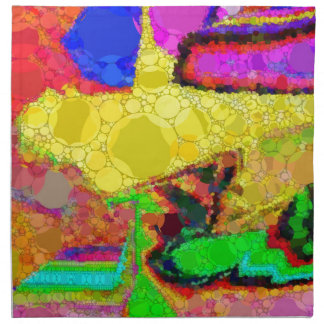 Psychedelic Yellow Blue Red Abstract Pattern Napkin
